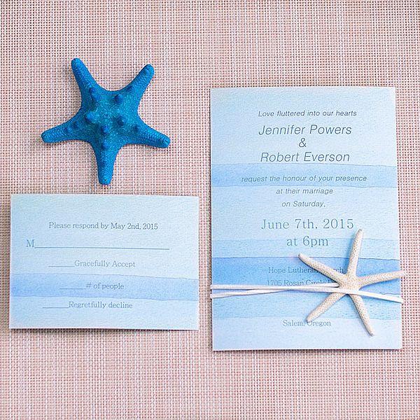 Cheap Watercolor Beach Wedding Invitation With Starfish EWLS053