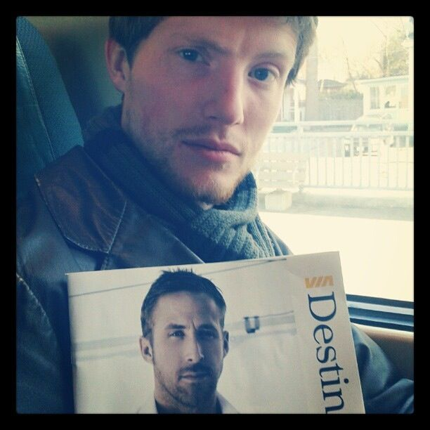 Hey girl, I see you're taking the train. How about we sit next to each other and read about Canadian arts and culture in Destinations magazine while sharing a cup of fair trade coffee.