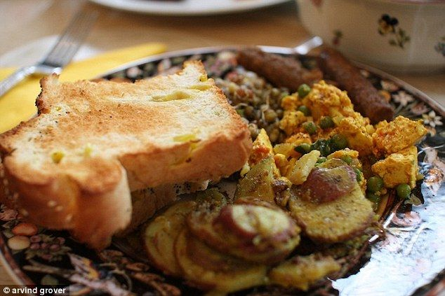 Indian breakfast - Indian tofu scramble, lentils, veggie sausage and banana pepper toast with rosemary roasted potatoes