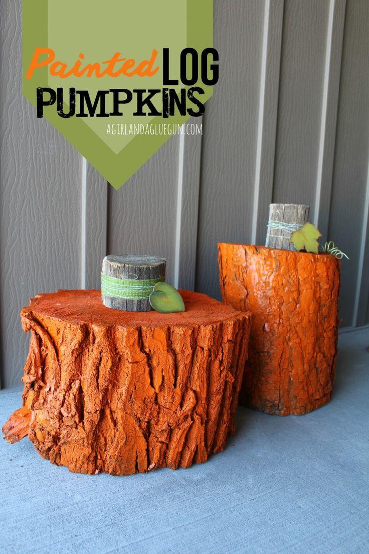 Cute painted wood log pumpkins! From A Girl and a Glue Gun