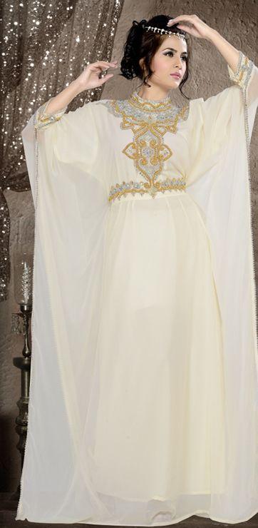 White Gold Kaftan - Arab Dubai Style Kaftan Farasha Jalabiya Abaya Sahara Style