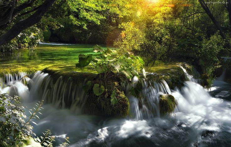 Park Narodowy Plitvice, Chorwacja, Rzeka, Wodospad