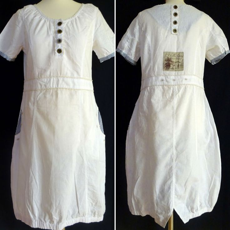 Chillnorway Tunic Dress Sloan Kleid M Lagenlook Boho Linen White Seaside