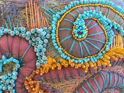 blue and yellow beads and embroidery