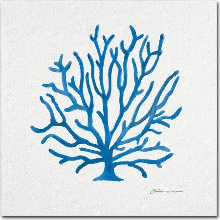 Trademark Fine Art Coral In Blue Canvas Art by Stephanie Marrott, Blue