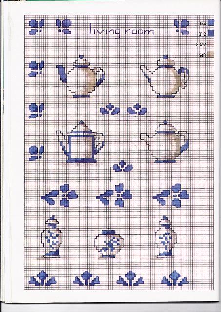 Tre tipi di teiere schemi punto croce cucina