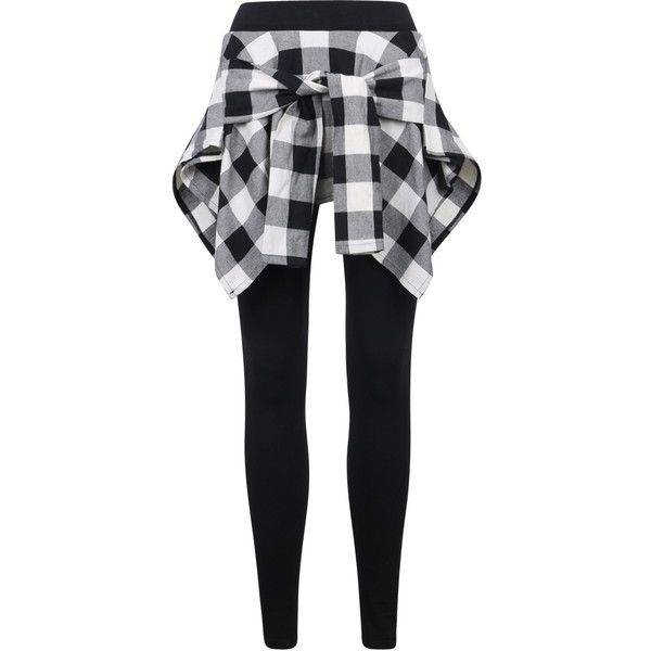 ililily Women Inset Tied Over Plaid Checkered Shirt Around Waist Skirt... ($20) ❤ liked on Polyvore featuring pants, leggings, tartan trousers, tie-dye leggings, checkerboard pants, checkered pants and tartan plaid pants