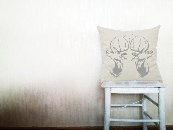 Deer pillows decorative throw pillows deer hunting pillows deer head throw pillows outdoor pillows woodland pillows 18x26 inches pillows