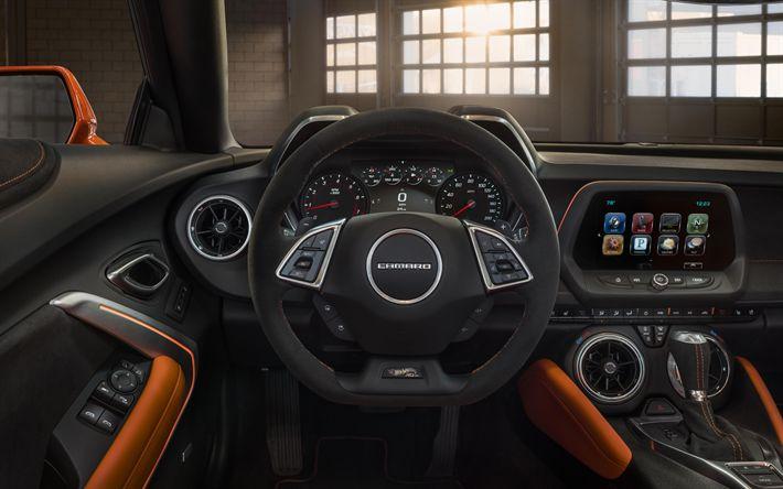 Download wallpapers SEMA, tuning, 4k, Chevrolet Camaro, 2017 cars, american cars, dashboard, interior, Chevrolet