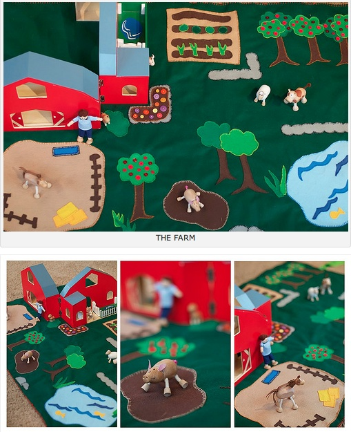 Farm Playmat using Anamalz toys (aren't they adorable?)