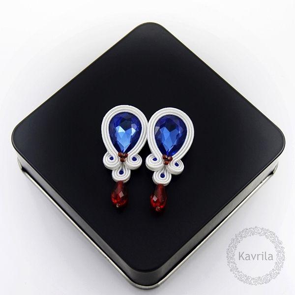 Candy sailor soutache - kolczyki ślubne sutasz KAVRILA #sutasz #kolczyki #ślubne #rękodzieło #soutache #handmade #earrings #wedding #kavrila