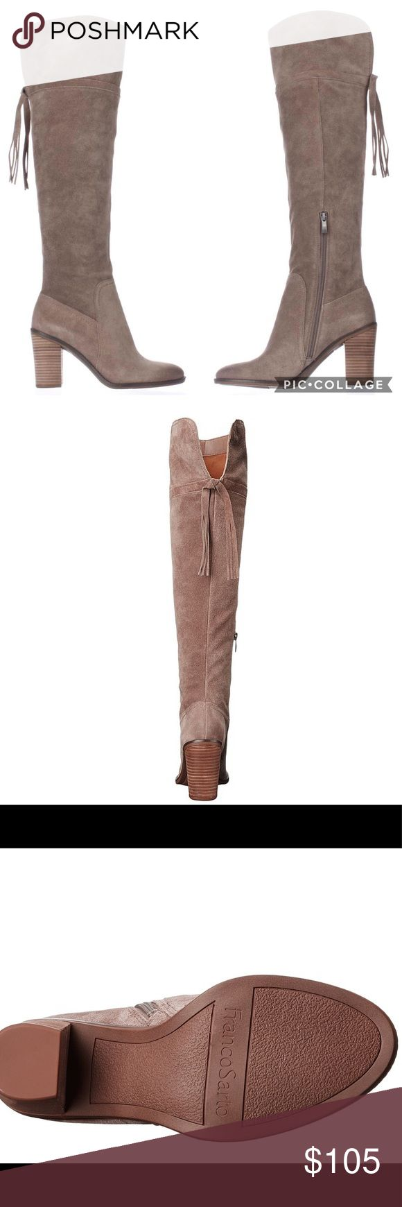 """Franco Sarto Tassel Back Over the Knee Boots, New without box, Franco Sarto Eckhart Tassel Back Over the Knee Boots. Color: Taupe Material: Suede Heel: 3"""" Toe Shape: Round Size 6.5 Stacked heel Franco Sarto Shoes Over the Knee Boots"""