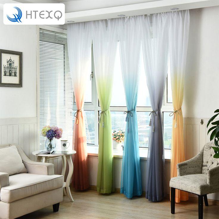 Modern wedding decoration tulle curtains Bedroom Gradient Ramp curtain yarn Window Curtain Living room