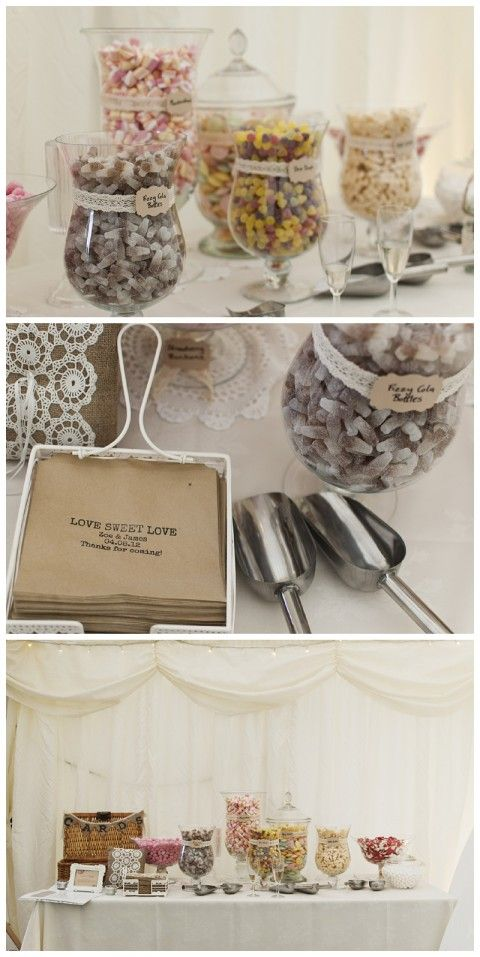 Candy bar with scoops and bags printed with the couple's names.
