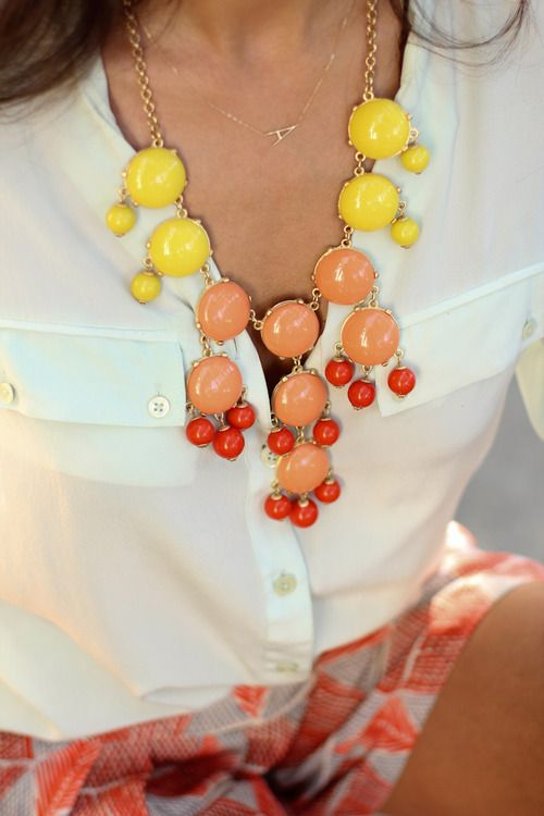 brights on whites: Colors Combos, Monograms Necklaces, Statement Necklaces, Initials Necklaces, Bubbles Necklaces, Statement Jewelry, Summer Colors, Bold Colors, Chunky Necklaces