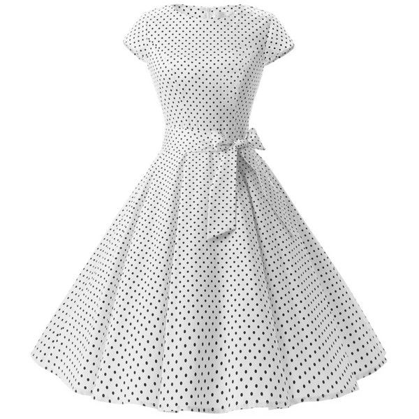 Dresstells Vintage 1950s Polka Dot and Solid Color Prom Dresses... ($18) ❤ liked on Polyvore featuring dresses, white polka dot dress, polka dot prom dress, vintage day dress, polka dot dress and short cap sleeve prom dress
