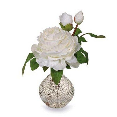 Peony in Ball Vase - White (30H cm) RRP $35