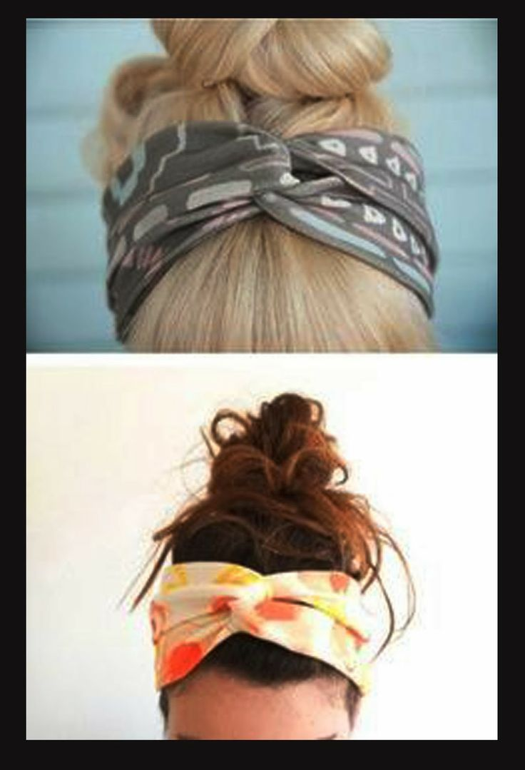 home-maid head band: -cut two strips of fabric about a 1/2 inch longer than the width around your head -place them in an X formation -grad the two ends of the strip on the top and pull it under the bottom one -- it should form the twisted look shown above^  then sew the loose ends together at the back
