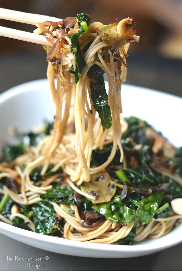 Sesame Kale Noodles - your next last-minute meal. Kale, brussels sprouts, sesame, and noodles equals weeknight, vegan happiness. http://thekitchengirl.com