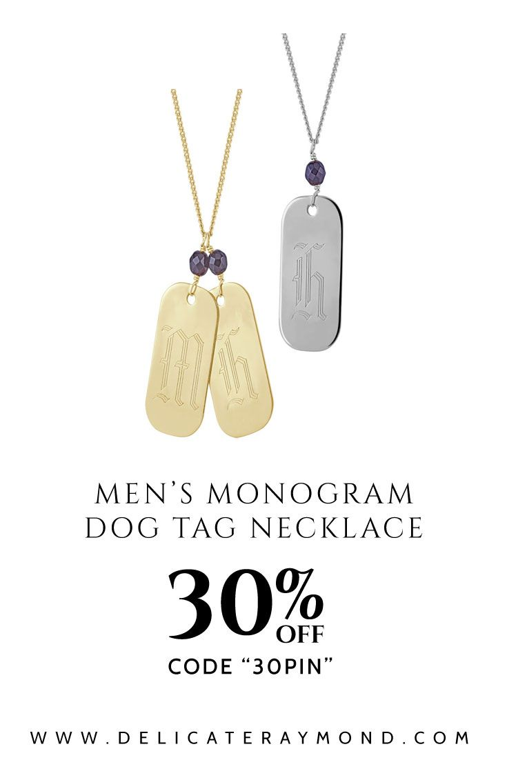 Men's Monogram Dog Tag Necklace by Delicate Raymond