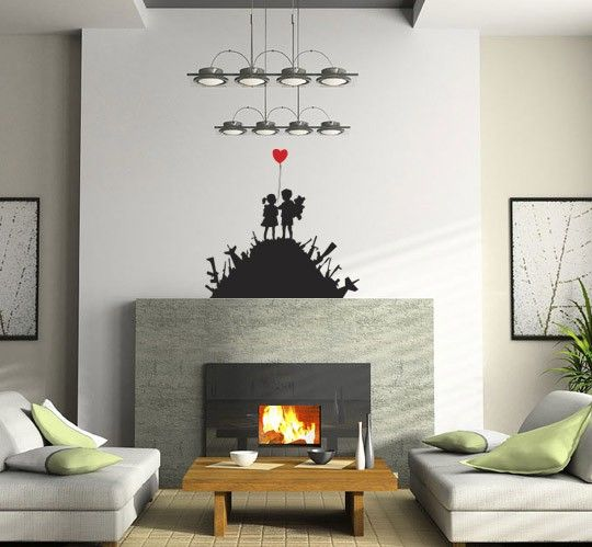 Ever wanted your own personal Banksy piece, with this iconic design you can. The simplicity and severity of the colour contrasts gives it both beauty and deeper meaning, making it one of the artists more somber pieces. This would be a perfect addition to a bed head or above a fire place mantle #LivingRoom #Decal #Quote #Home #Design #WallArt homedecals.co