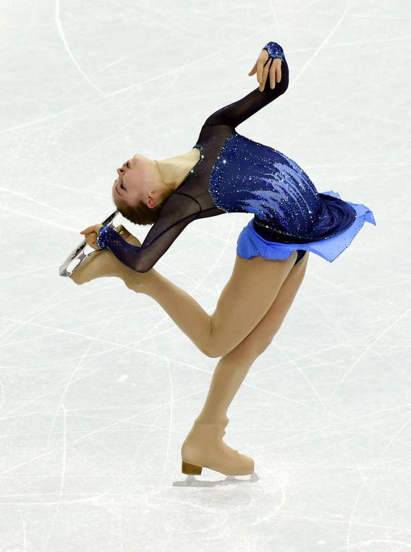 Feb 8, 2014; Sochi, RUSSIA; Yulia Lipnitskaya (RUS) performs during the team ladies short program during the Sochi 2014 Olympic Winter Games at Iceberg Skating Palace. (Richard Mackson-USA TODAY Sports)