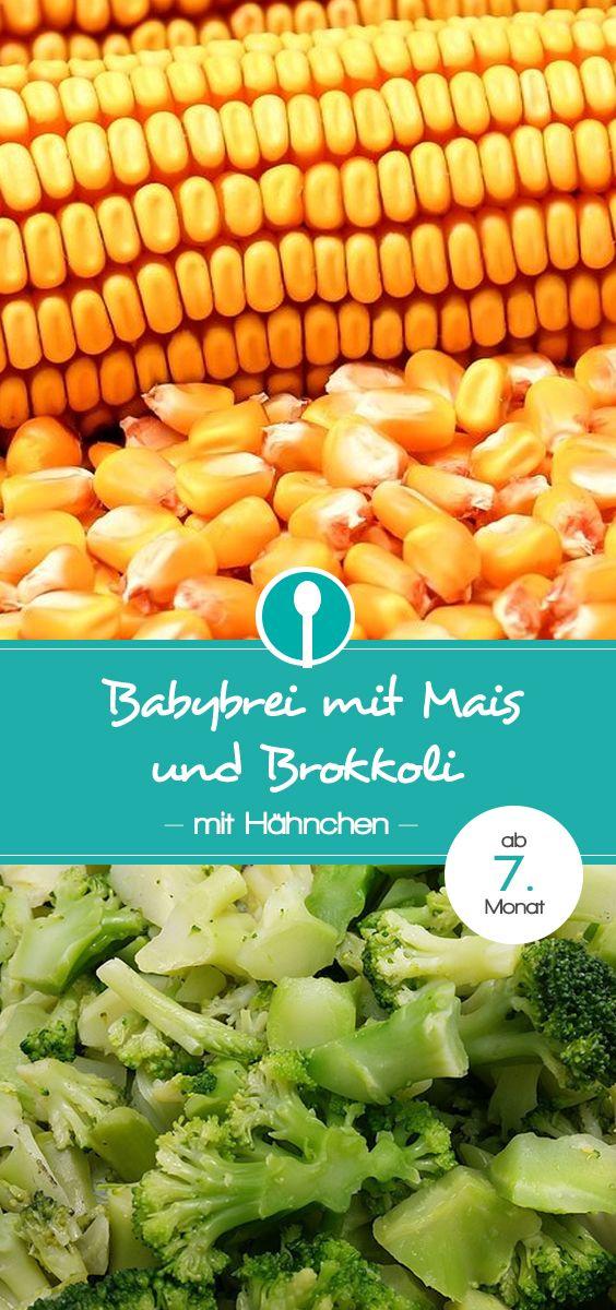 Babybrei mit Mais, Brokkoli und Hähnchen. Rezept für Mittagsbrei mit Fleisch für Babys ab dem 7. Monat.