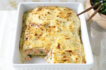 Salmon, leek, and asparagus lasagne