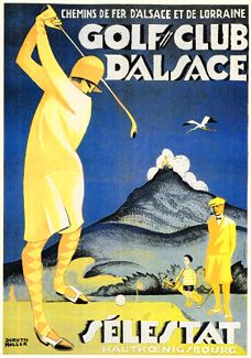 GOLF CLUB D'ALSACE SELESTAT Vintage Women's Golfing Poster Reprint c.1929 - This amazing poster is a reprint of a design by French artist Dorette Muller (1894-1975), originally printed around 1929.  Available at www.sportsposterwarehouse.com