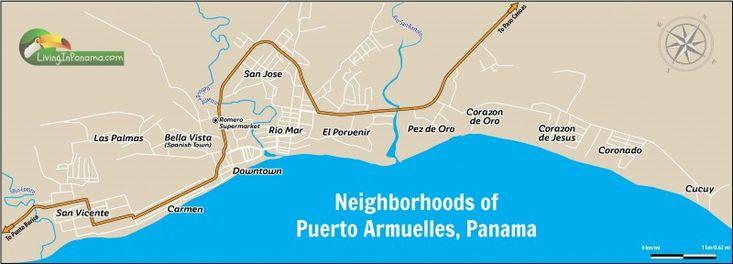 Map showing the main neighborhoods of Puerto Armuelles Panama