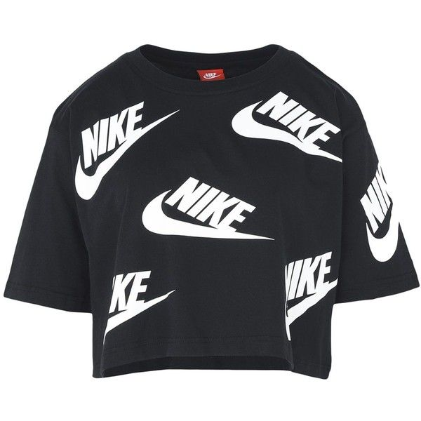 8e9fbdeeb Nike T-shirt ($36) ❤ liked on Polyvore featuring tops, t-shirts, black,  jersey top, nike t shirt, logo design t shirts, short sleeve jersey and  short ...