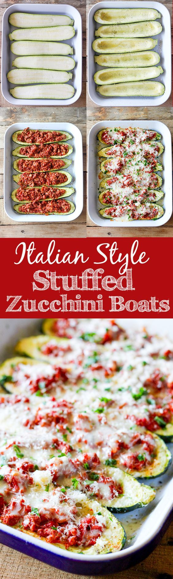 Italian Stuffed Zucchini Boats - roasted zucchini boats stuffed with lean ground turkey, homemade tomato sauce and topped with melty mozzarella cheese. @jennie
