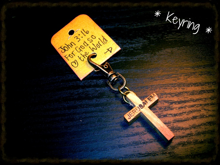 """Assorted Cross Key Holders from R40-00. These """"Jerusalem"""" crosses is made in Jerusalem out of a olife tree. Limited addition."""