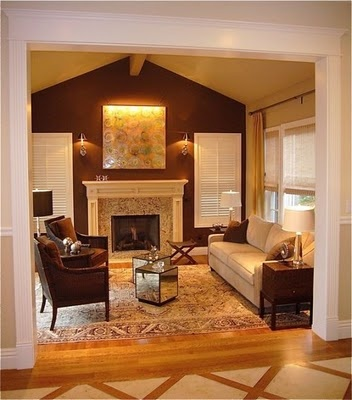 Living Room Carry Accent Color On FP Wall Into Kitchen In The LR Inset