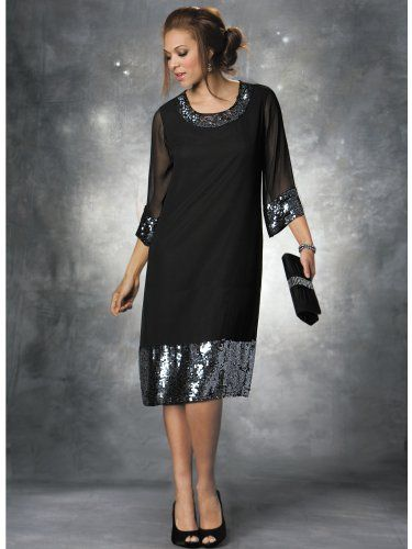 Plus Size Sequin Shift Dress and Black