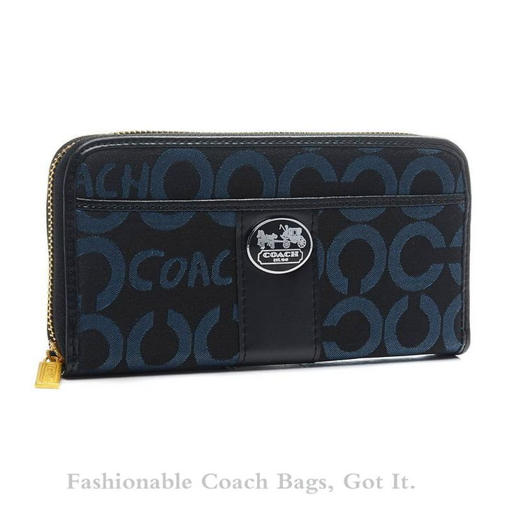 * 712 Coach Large Legacy Signature Wallet in Shades of Blue BVT ($125)