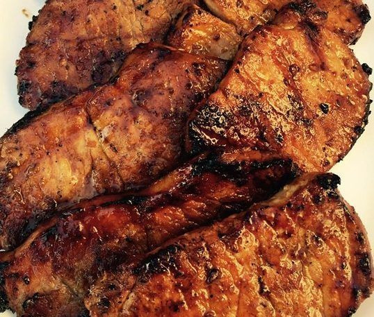 Ingredients 1/2 cup soy sauce 1/4 cup brown sugar 2 tablespoons lemon juice 1 tablespoon vegetable oil 1/2 teaspoon ground ginger 1/8 teaspoon garlic powder 6 boneless pork chops Directions In a bowl, mix the soy sauce, brown sugar, lemon juice, vegetable oil, ginger, and garlic powder. Set aside so…