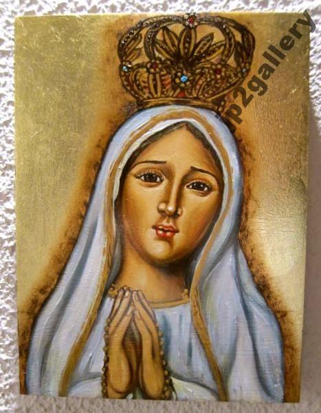 Ikona AUTORSKA Matka Boża Fatimska pisana ŚWIĘTA