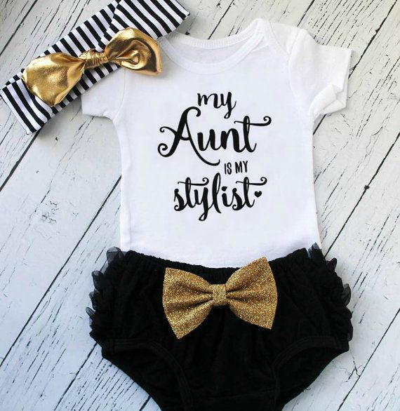 Know a super fab Aunt that loves to dress her favorite niece(s)?! Then this outfit is PERFECT! Our My Aunt Is My Stylist bodysuit and/or tee is a wonderful gift for a new aunt (to be!). Handmade with love in Philadelphia, our items are made to last through many many washes! Options are available in sizes newborn through youth 12.   | style |  bodysuit only - includes only the bodysuit or top (depending on size selected). top + headband - includes the above top and headband pictured top…