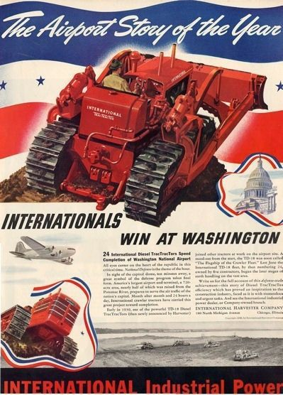 1940 International Tractor Bulldozer Build Washington National Airport PRINT AD