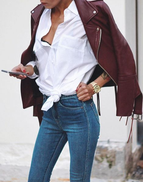 pinterest|| @cakwarcinski || burgundy leather jacket, crisp white shirt and jeans