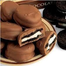 Biscoitos cobertos com chocolate