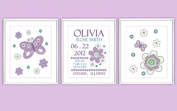 BIRTH ANNOUCEMENT PRINTS - Nursery Wall Art - Baby Nursery Decor - Flowers - Butterflies - Purple - Teal - Green - Pottery Barn Brooklyn