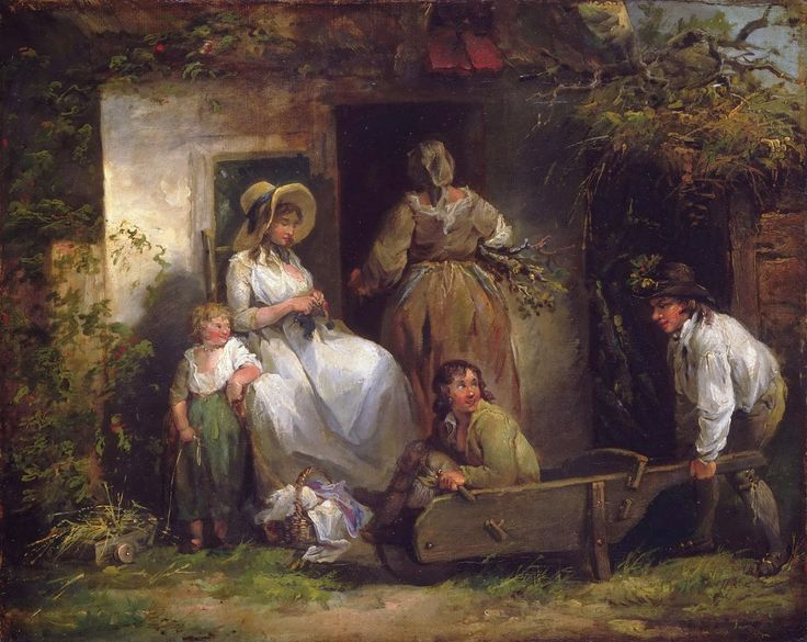 George Morland - Happy Cottagers (The Cottage Door) [c.1790-92]  #18th #Classic #George #Morland #Painting