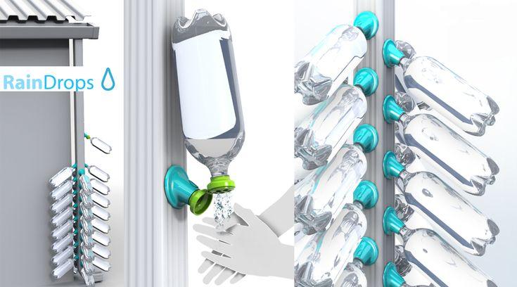 Rain Drops, o como embotellar agua de lluvia.  El diseño y funcionamiento del colector de agua permite a las personas adaptar las botellas de plástico a un canal previamente instalado, permitiendo recoger el agua de la lluvia a través de las botellas. Leer más http://ecoinventos.com/rain-drops-o-como-embotellar-agua-de-lluvia/