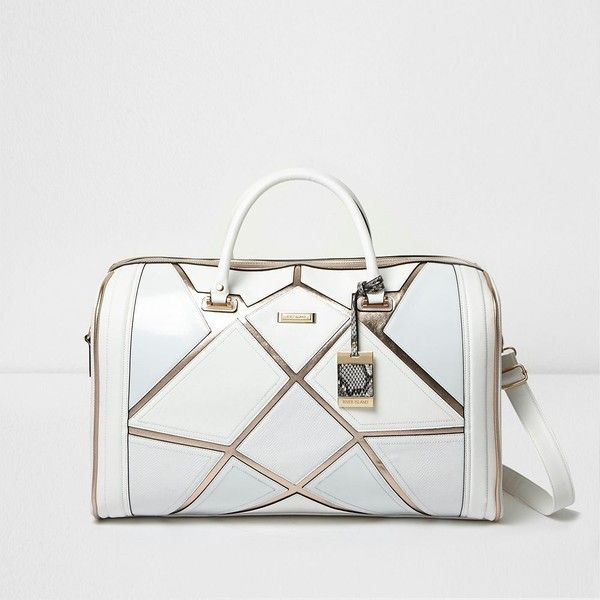 River Island White metallic strip weekend bag (£70) ❤ liked on Polyvore featuring bags, handbags, shoulder strap purses, top handle purse, strap purse, weekend bag and metallic purse