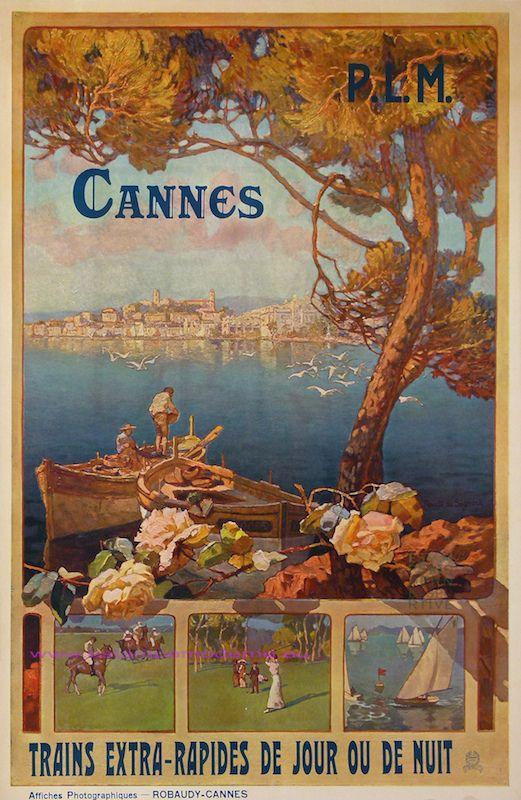 Vintage Railway Travel Poster - Cannes ~ Côte d'Azur