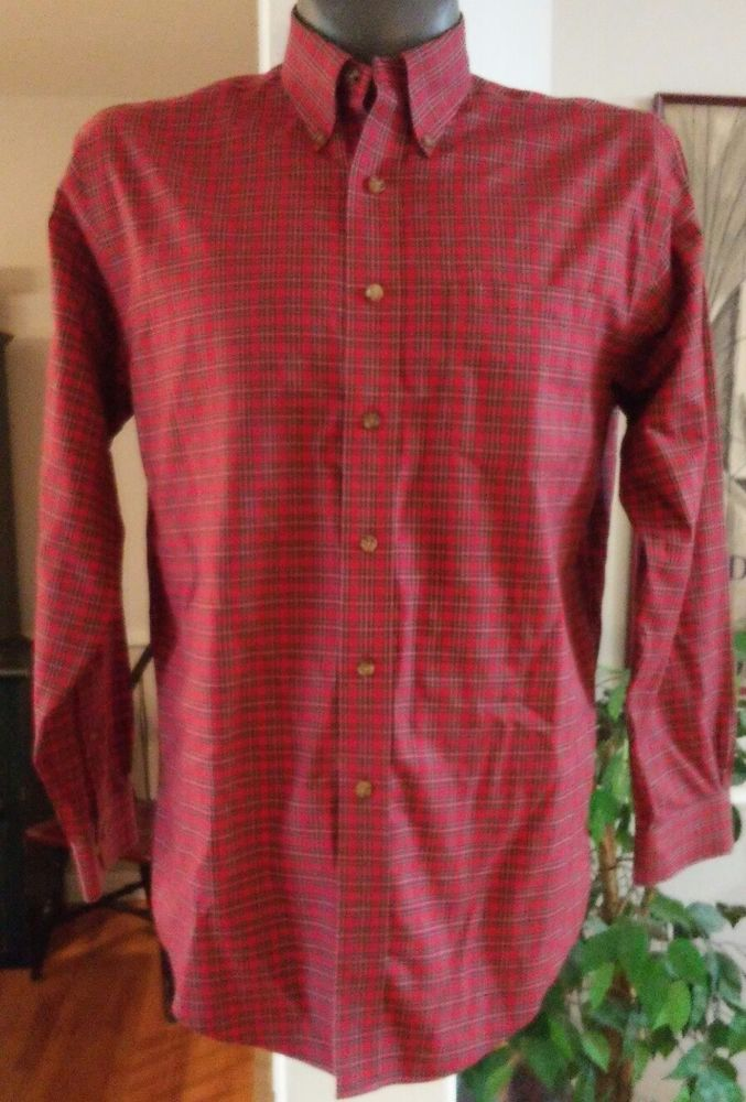BROOKS BROTHERS SHIRT TRADITIONAL RED BLUE SCOTCH PLAID M NON IRON | eBay