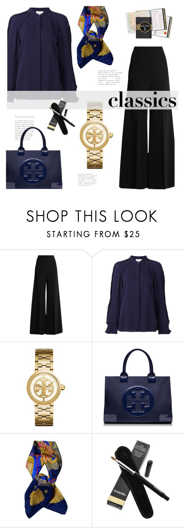 """""""wardrobe staples"""" by heloisacintrao ❤ liked on Polyvore featuring Roland Mouret, 3.1 Phillip Lim, Tory Burch, Hermès, Chanel and Peter Pauper Press"""