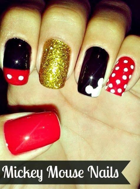 DIY Mickey Mouse Nail Design #Mickey Mouse Nails | CraftyMorning.com